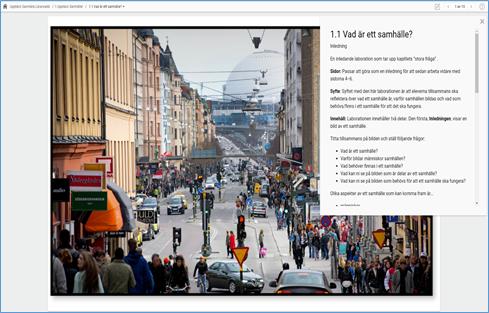 Skärmdump av Lärarwebb med exempel på instruktioner under frågetecknet