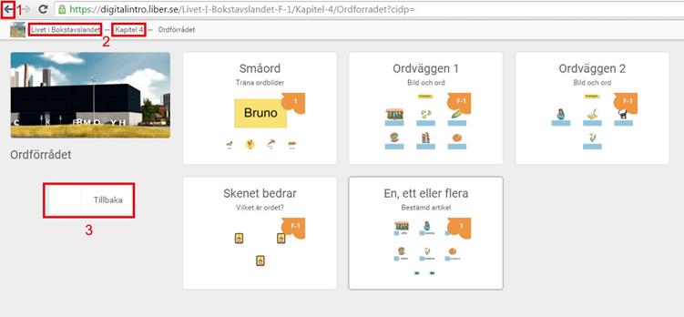 Skärmdump av kapitelsida med röd ram runt webbläsarens egna navigation bakåtpil (1) brödsmulor i tjänsten (2) och tillbakaknapp i tjänsten (3)