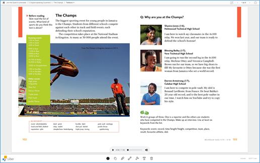 Skärmdump av lärarwebb boksida med  ljudspelare
