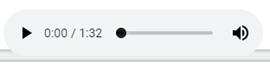 Skärmdump av ljudspelaren play-knapp tidsangivelse och  volymkontroll