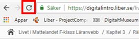 Skärmdump  där webbläsarens runda uppdaterings pil  är markerad med en röd fyrkant