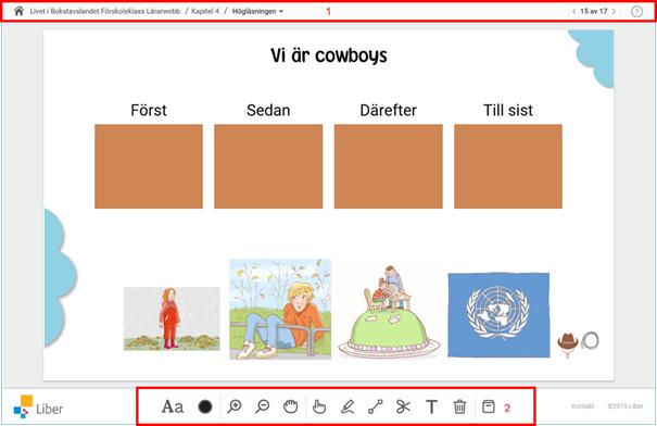 Skärmdump av Digital Introduktion som visar menyraden (1) och verktygsfält, med ikoner Färg och textstorlek, Zooma, Dra och släpp, Rita, Dra linje, Klipp ut/ta bort, Skriv text, Rensa allt och Verktygslåda (2)