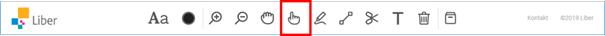 Skärmdump av verktygsfältet med röd ram kring handverktyget med pekfinger