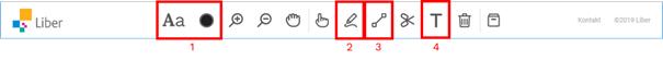 Skärmdump av verktygsfältet med röd ram kring storlek, färg (1) rita fritt (2), dra raka streck (3) och skriva text (4).