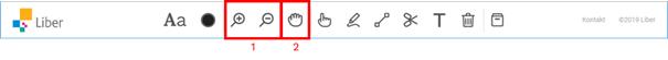 Skärmdump av verktygsfältet med röd ram kring ikonerna  zoom + och - (1) samt hand som flyttar zoomat läge (2)