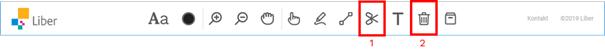 Skärmdump av verktygsfältet med röd ram kring ikon sax, ta bort bit (1)  och ikon soptunna ,rensa hela laborationsytan (2 )