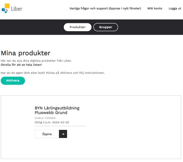 Lista i Liber Online där Pluswebb visas