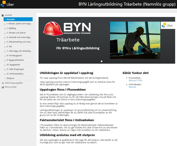 Startsida för Pluswebben Träarbete Skärmdump