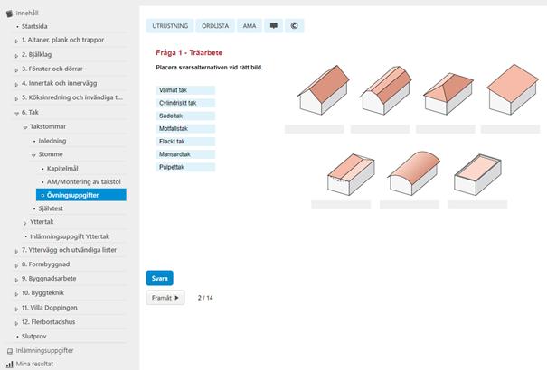 Exempel på övningsuppgift i Pluswebben Träarbete Skärmdump