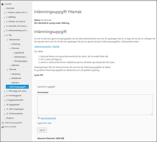 Exempel på startsida för inlämningsuppgift i Pluswebben Träarbete. Skrämdump