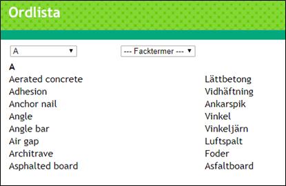 Exempel från ordlistan i en Pluswebb Skärmdump
