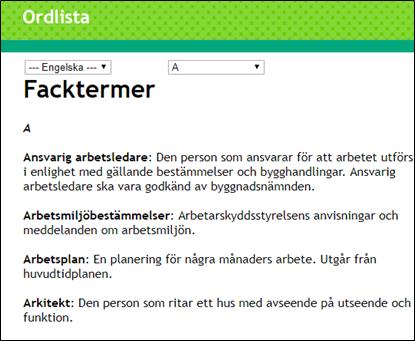 Exempel på facktermer från ordlistan i en Pluswebb Skärmdump