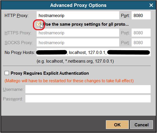 Why are my proxy settings not being honoured by the Maltego
