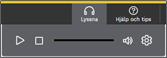 Lyssnameny nedfälld med ikoner för spela, stopp, volymkontroll och inställningar . Skärmdump