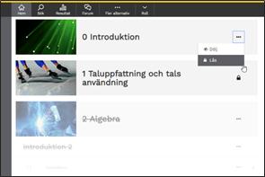 Minimeny med valen Dölj och Lås. Skärmdump