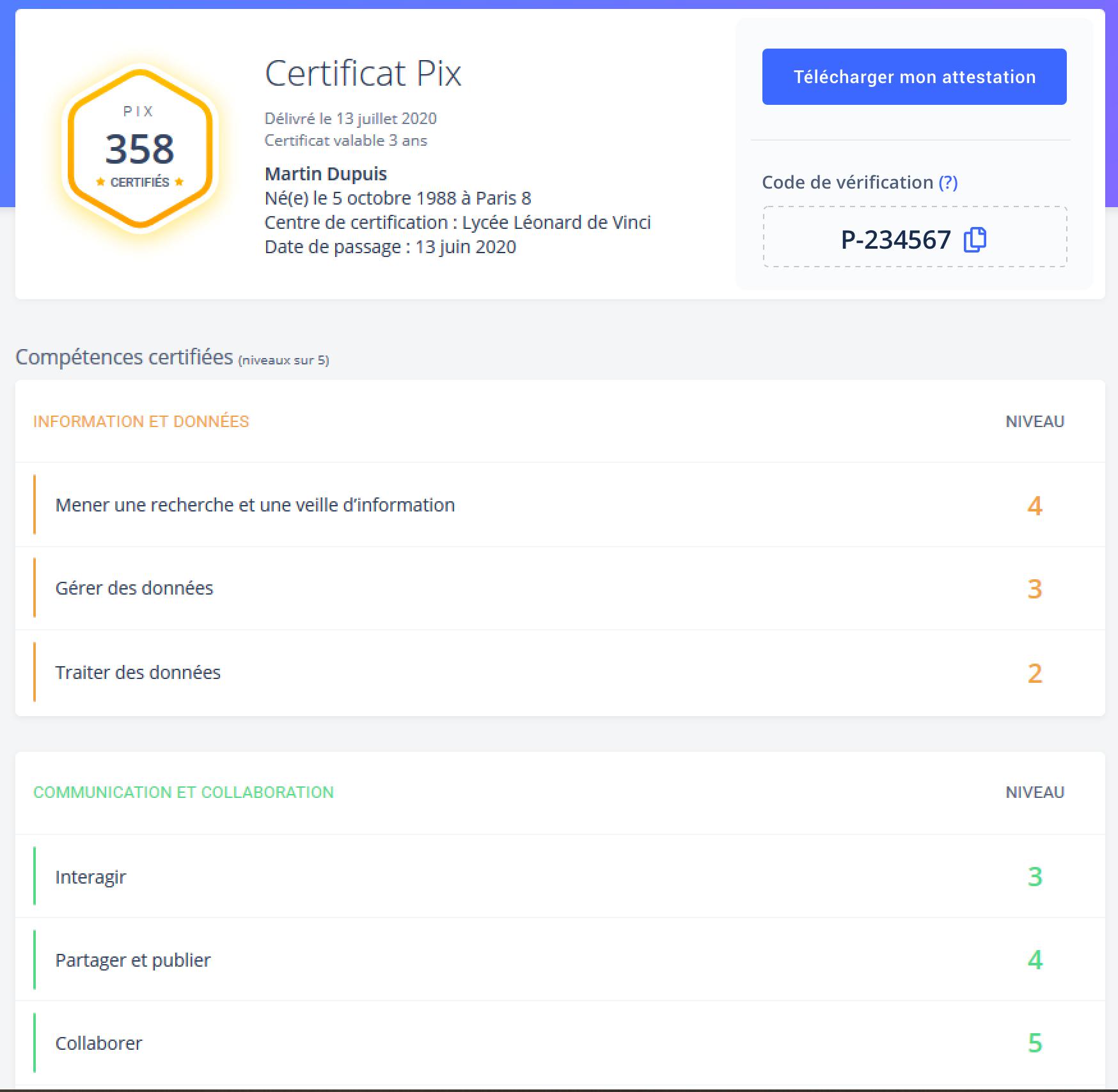 Certificat Pix attestation