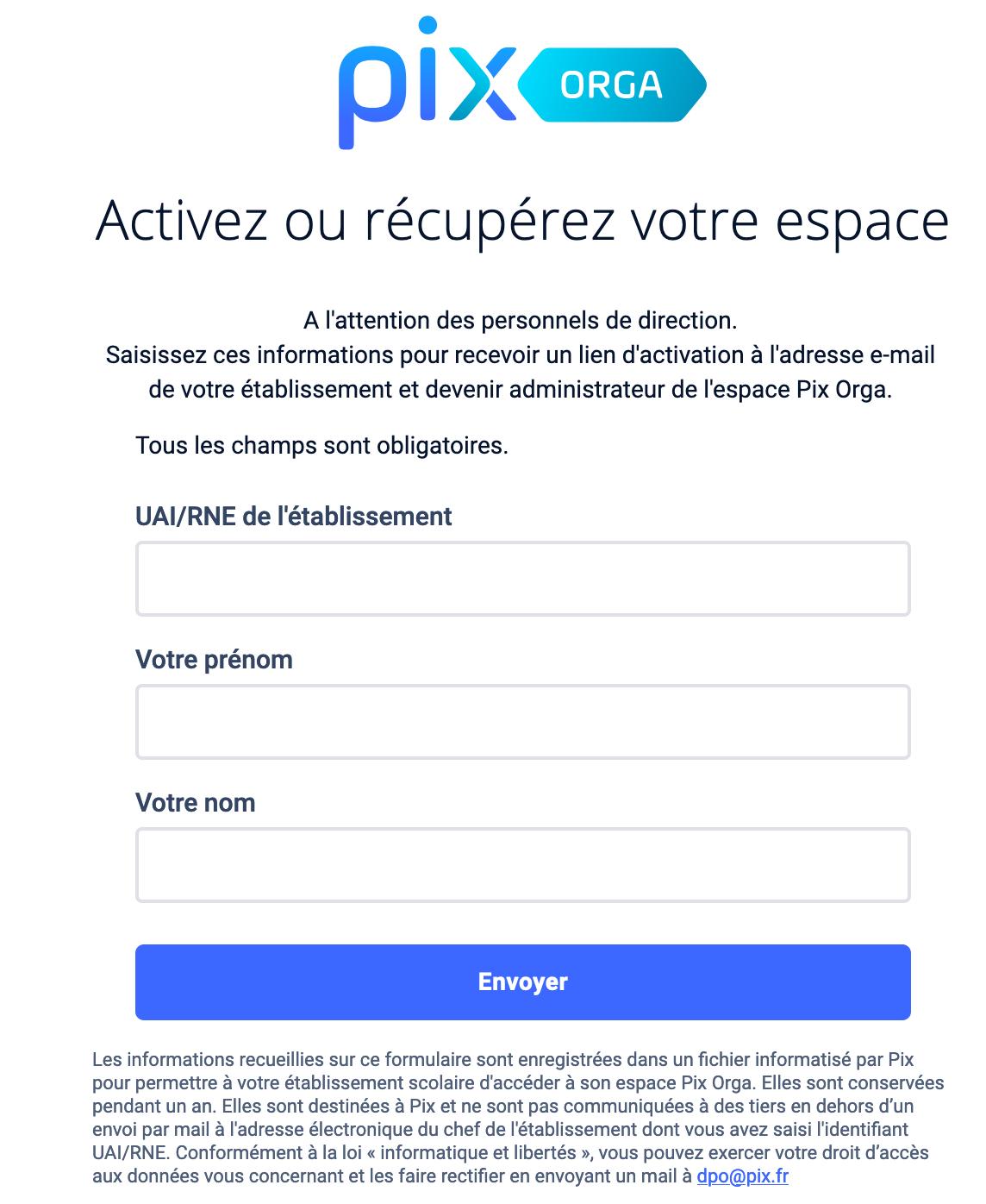 accès espace Pix Orga