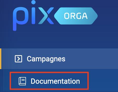 Menu de Pix Orga bouton Documentation