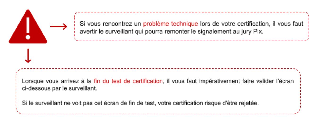 message d'information pour la certification Pix