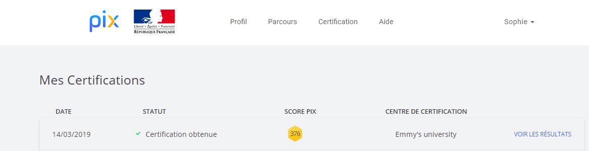 écran visible en cas de certification Pix obtenue