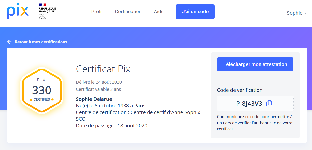 aperçu de l'attestation de certification Pix