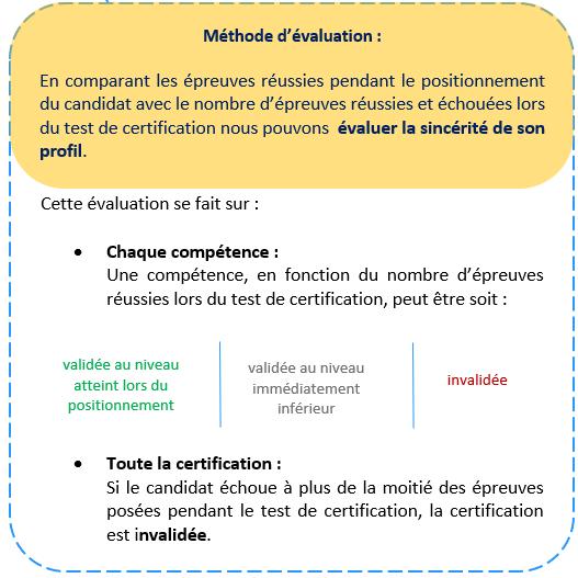 explication de la méthode d'évaluation pour la certification Pix