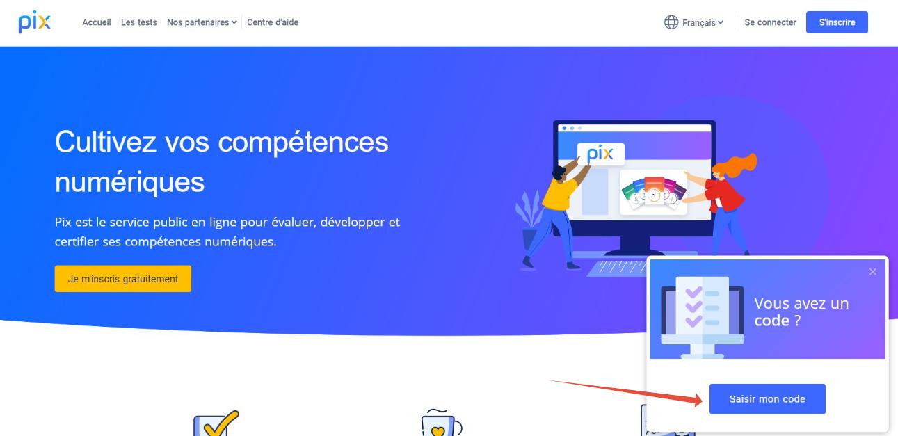 page d'accueil de pix.org/fr