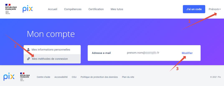 écran où modifier son adresse e-mail sur son compte Pix