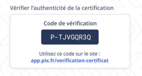 Image du code de vérification Pix et du lien du site de vérification