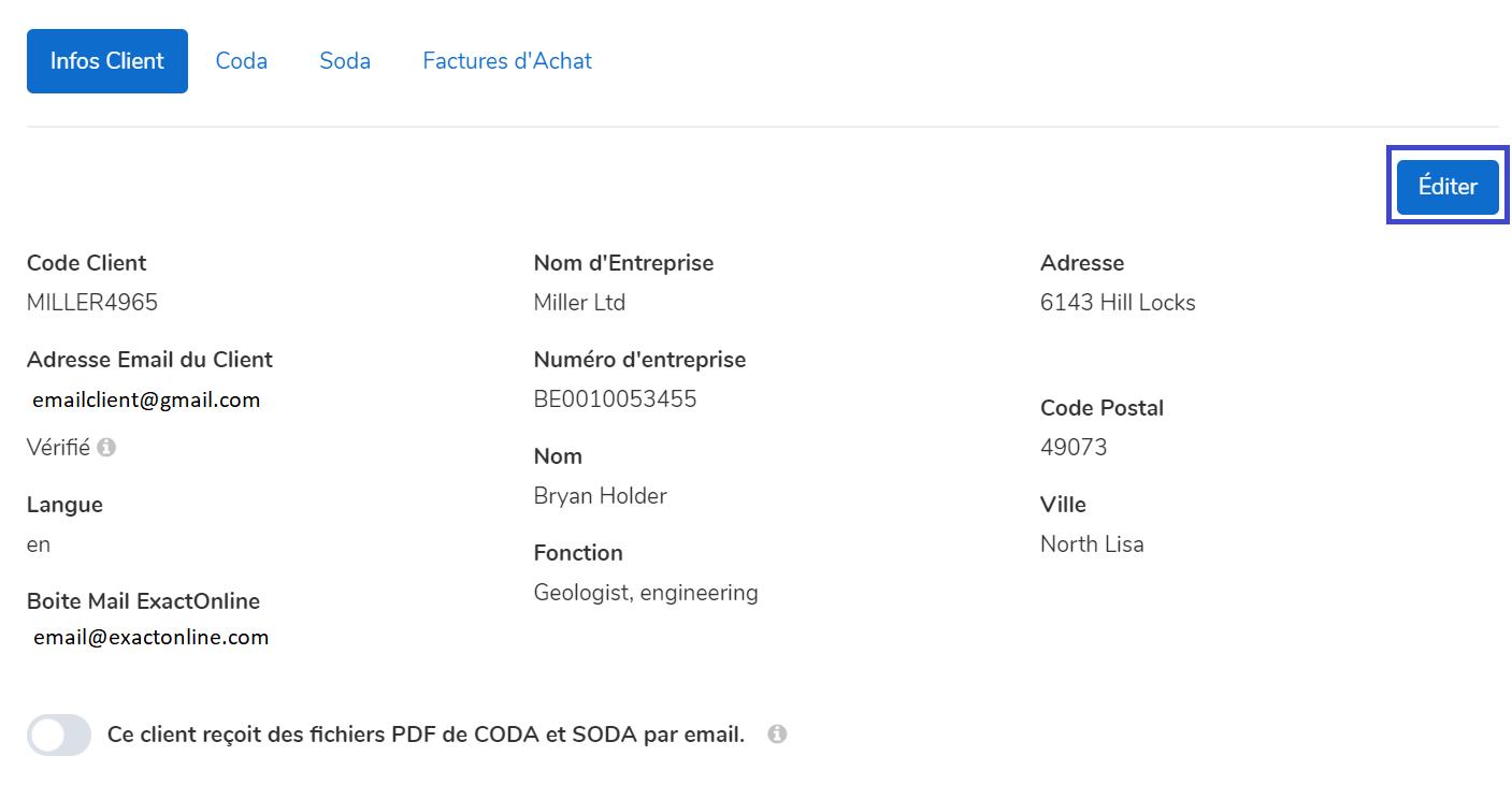 editer infos client dans mycodabox