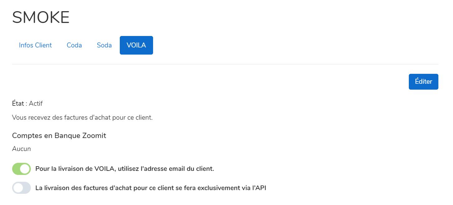 onglet voila dans mycodabox et modification email