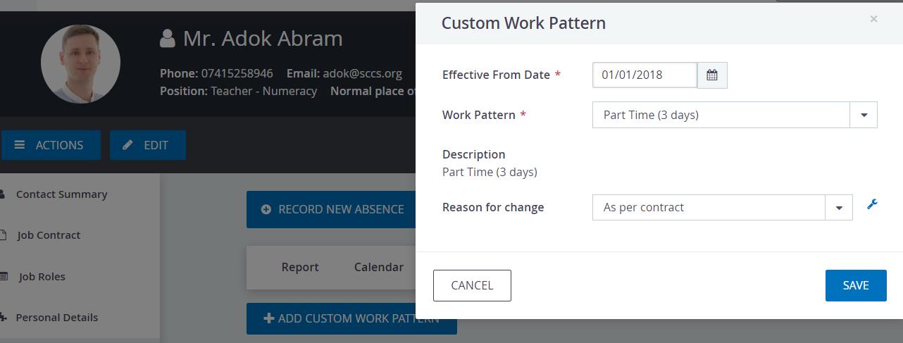 Allocate work pattern to staff profile