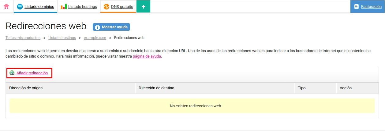 Cómo configurar una redirección web por URL : CDmon