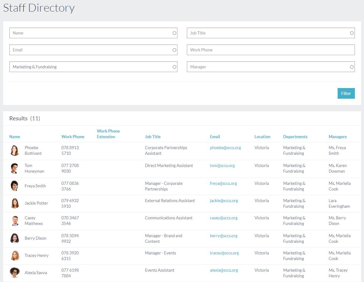 CiviHR Staff Directory
