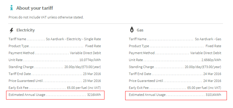 A screenshot showing gas and electric tariff details in 2 lists, both lists have the estimated annual usage highlighted.