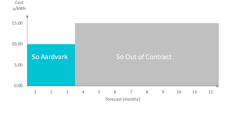 A chart showing 12 months of a year, the first 3 and a half of which are marked as So Aardvark tariff, the rest are marked So Out of Contract tariff