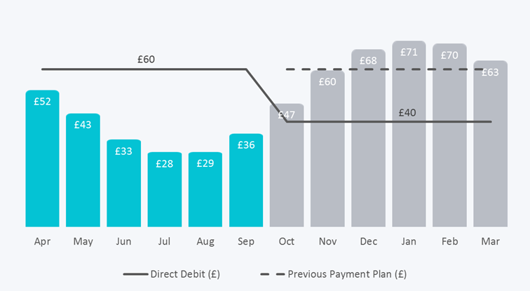A chart showing monthly payments being lowered after 6 months of paying higher than the actual usage. The new payment amount is lower than the actual usage of the following 6 months.