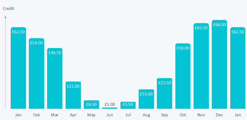 Graph showing an example user's monthly account credit