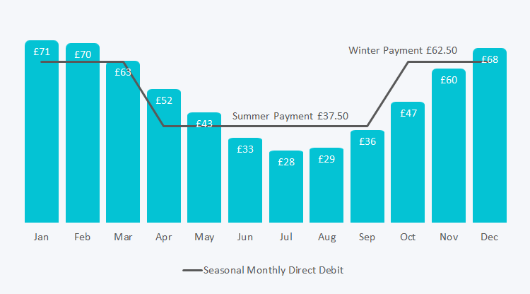 Graph showing the distribution of summer and winter payments against actual monthly usage.