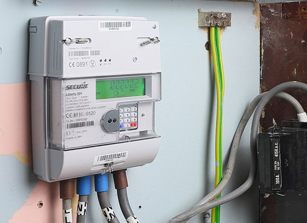 A picture of an installed smart meter