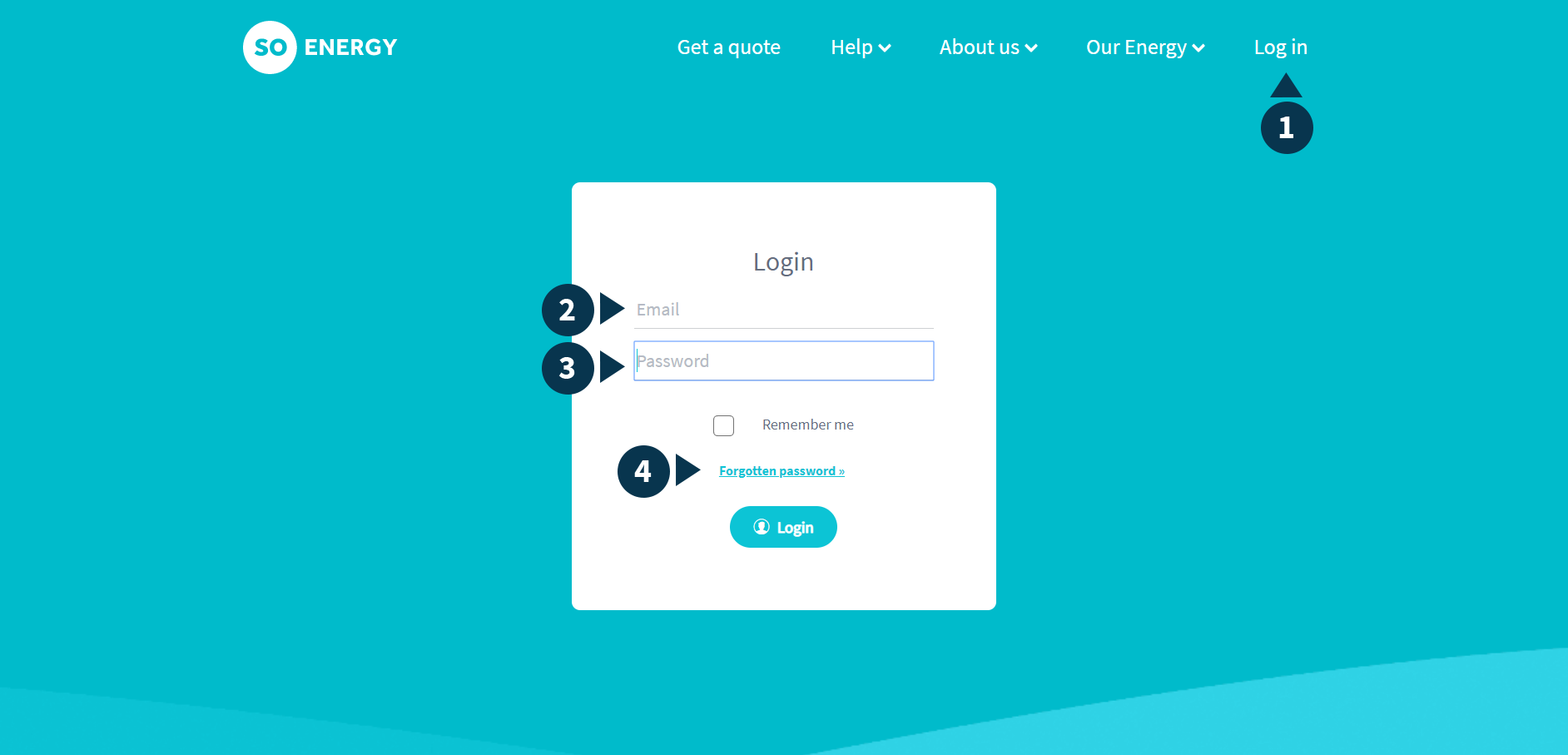 Screenshot of the login page, with input fields and links numbered from 1 to 4