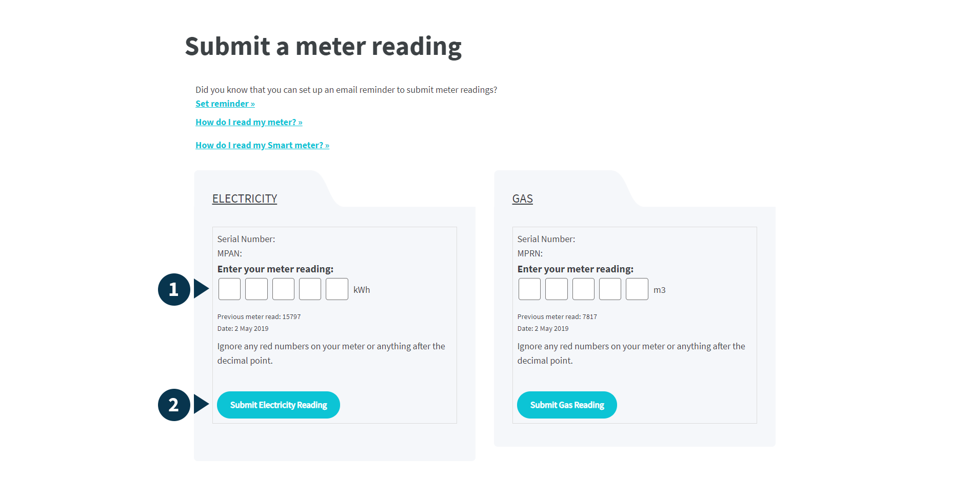 A screenshot example of meter reading submission page, with meter reading fields and submission button numbered 1 to 2