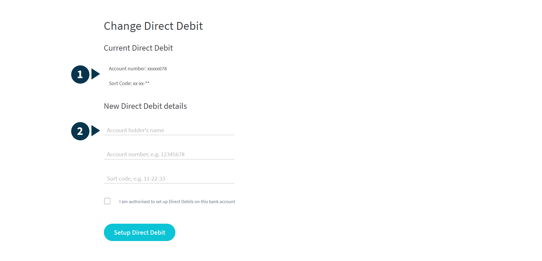 Screenshot of the change direct debit page, with parts numbered 1 and 2