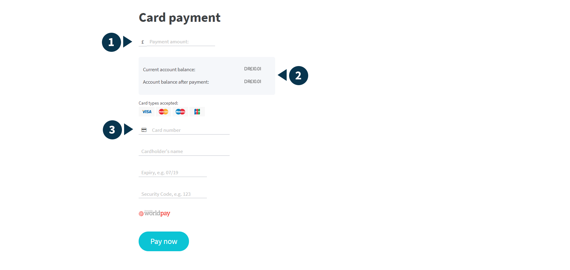 Screenshot of card payment page with parts numbered 1 to 3