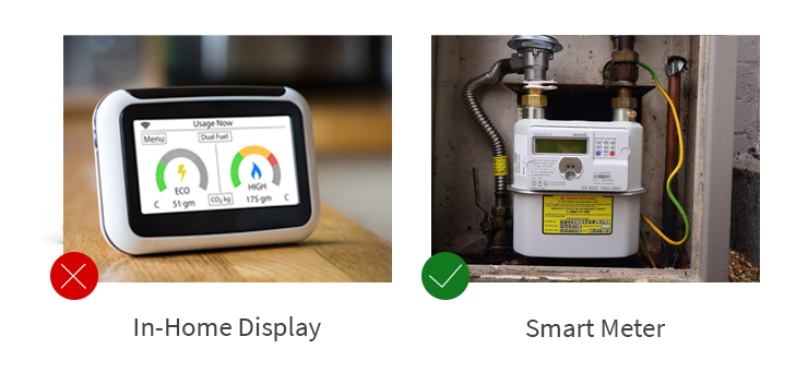 Side by side pictures comparing a smart meter with an in-home display with a green tick on the smart meter