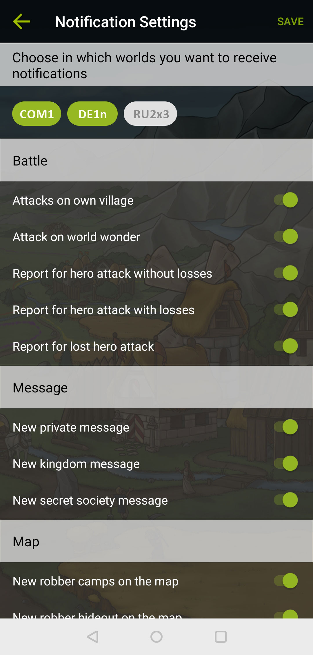 Settings menu in the Travian Kingdoms app, page 1