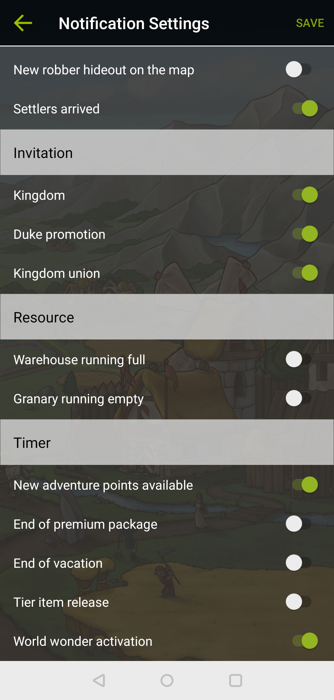 Settings menu in the Travian Kingdoms app, page 2