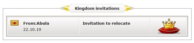 Relocation invitation in the communites window