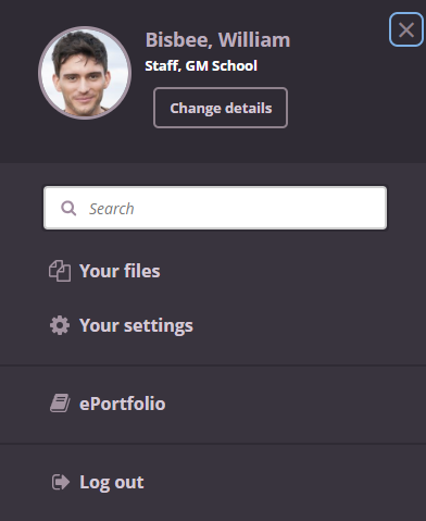 image of personal settings in itslearning