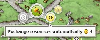 Automatic resource exchange in the upgrade menu